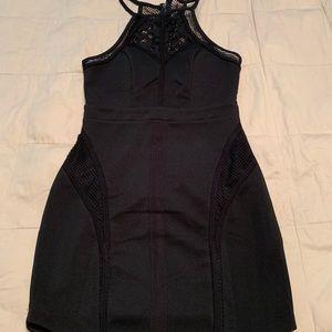 Lf black high neck dress